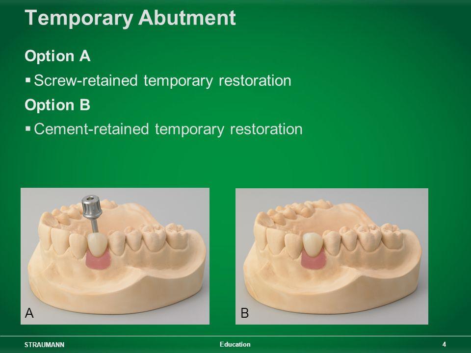 STRAUMANN 4 Education Temporary Abutment Option A Screw-retained temporary restoration Option B Cement-retained temporary restoration AB