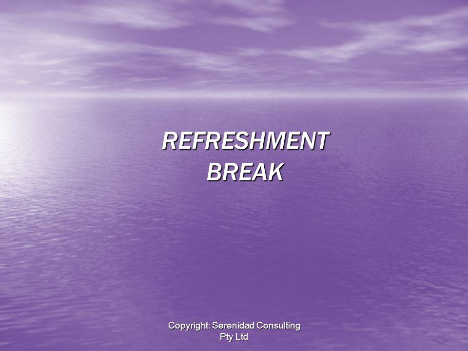 Copyright: Serenidad Consulting Pty Ltd REFRESHMENT BREAK