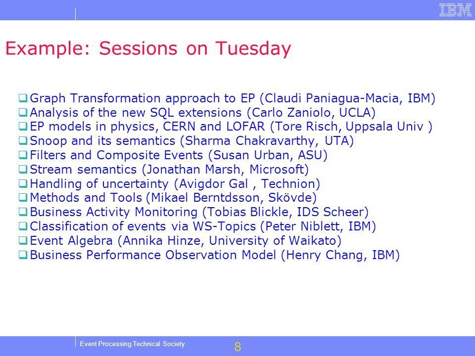 8 Event Processing Technical Society Example: Sessions on Tuesday Graph Transformation approach to EP (Claudi Paniagua-Macia, IBM) Analysis of the new SQL extensions (Carlo Zaniolo, UCLA) EP models in physics, CERN and LOFAR (Tore Risch, Uppsala Univ ) Snoop and its semantics (Sharma Chakravarthy, UTA) Filters and Composite Events (Susan Urban, ASU) Stream semantics (Jonathan Marsh, Microsoft) Handling of uncertainty (Avigdor Gal, Technion) Methods and Tools (Mikael Berntdsson, Skövde) Business Activity Monitoring (Tobias Blickle, IDS Scheer) Classification of events via WS-Topics (Peter Niblett, IBM) Event Algebra (Annika Hinze, University of Waikato) Business Performance Observation Model (Henry Chang, IBM)
