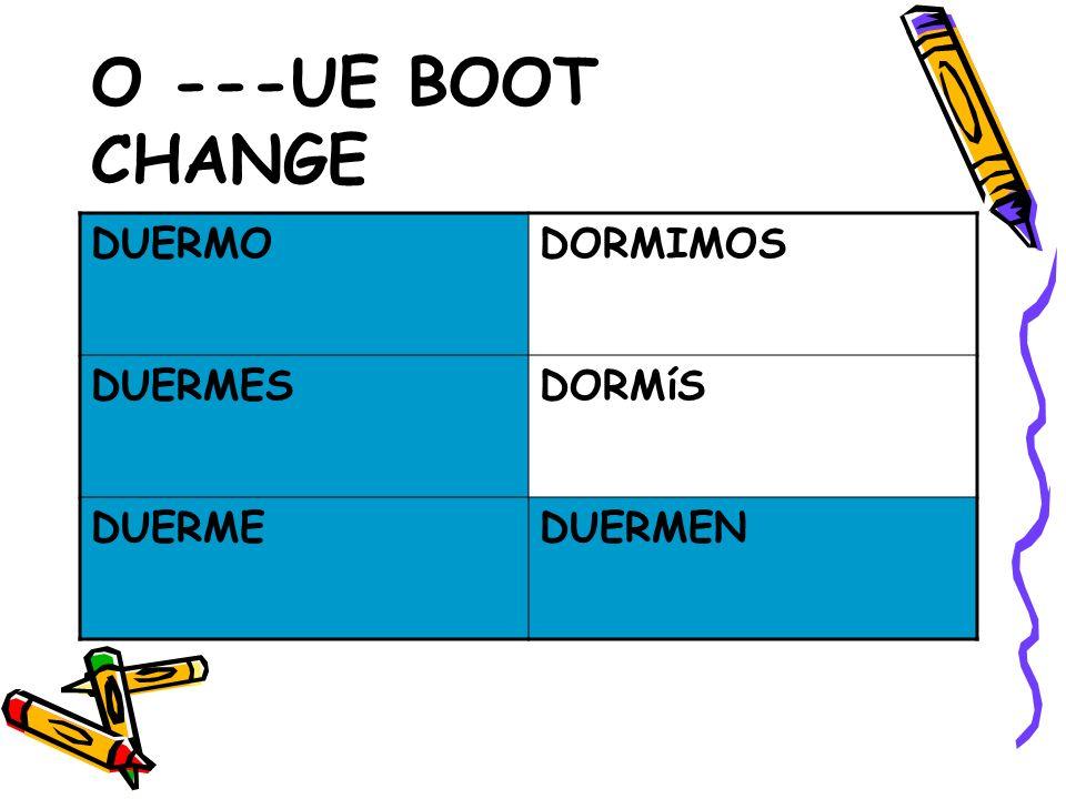 O ---UE BOOT CHANGE DUERMODORMIMOS DUERMESDORMíS DUERMEDUERMEN