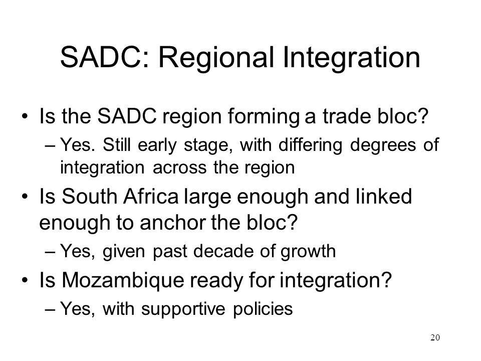 SADC: Regional Integration Is the SADC region forming a trade bloc.