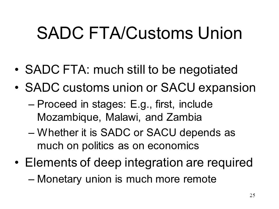 SADC FTA/Customs Union SADC FTA: much still to be negotiated SADC customs union or SACU expansion –Proceed in stages: E.g., first, include Mozambique,