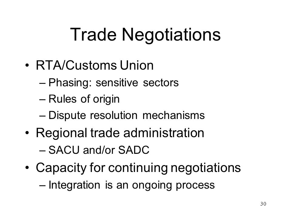 Trade Negotiations RTA/Customs Union –Phasing: sensitive sectors –Rules of origin –Dispute resolution mechanisms Regional trade administration –SACU and/or SADC Capacity for continuing negotiations –Integration is an ongoing process 30