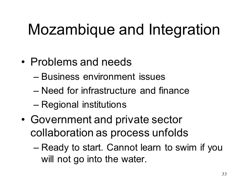 Mozambique and Integration Problems and needs –Business environment issues –Need for infrastructure and finance –Regional institutions Government and