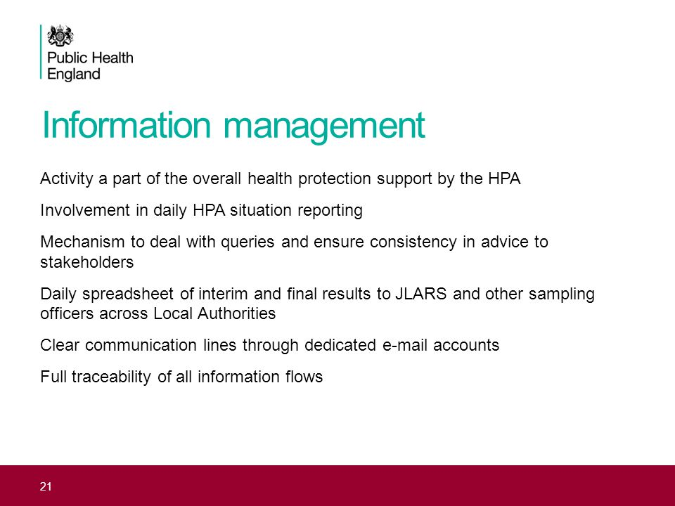 Information management Activity a part of the overall health protection support by the HPA Involvement in daily HPA situation reporting Mechanism to d