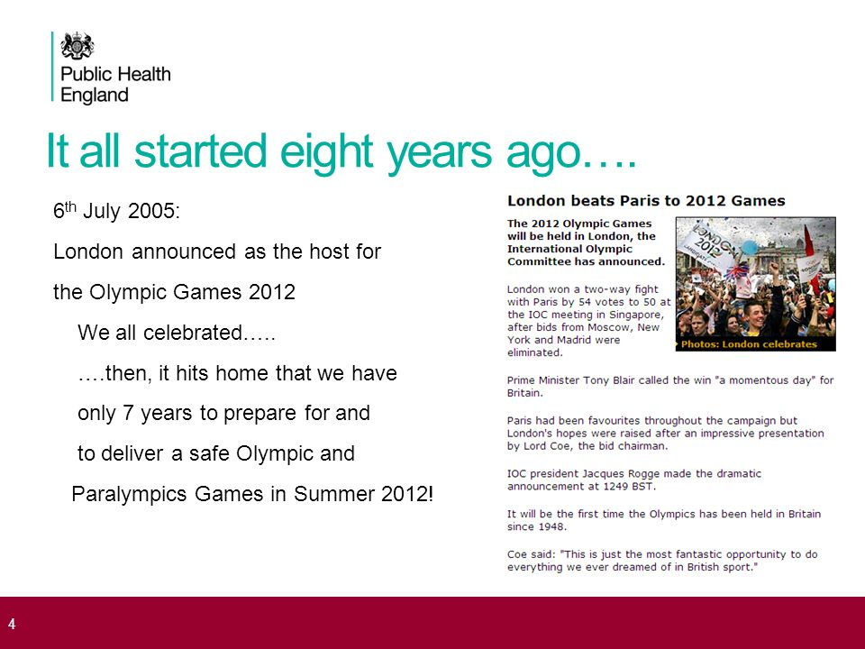 It all started eight years ago…. 6 th July 2005: London announced as the host for the Olympic Games 2012 We all celebrated….. ….then, it hits home tha