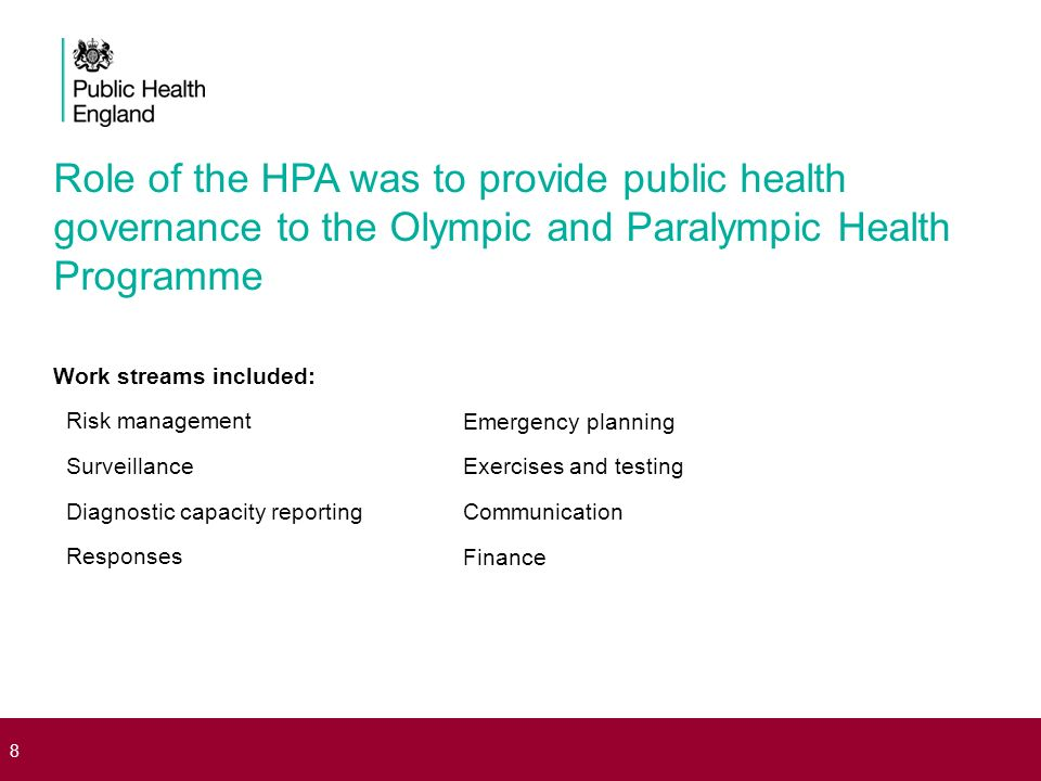 Role of the HPA was to provide public health governance to the Olympic and Paralympic Health Programme Work streams included: Risk management Surveill