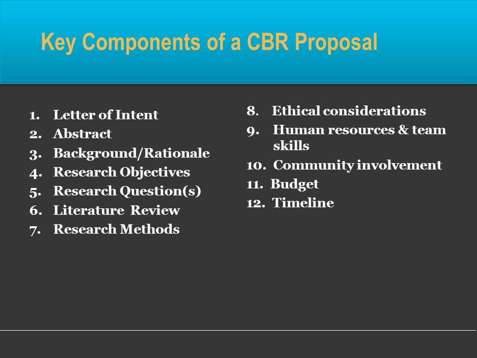 Key Components of a CBR Proposal 1.Letter of Intent 2.Abstract 3.Background/Rationale 4.Research Objectives 5.Research Question(s) 6.Literature Review 7.Research Methods 8.