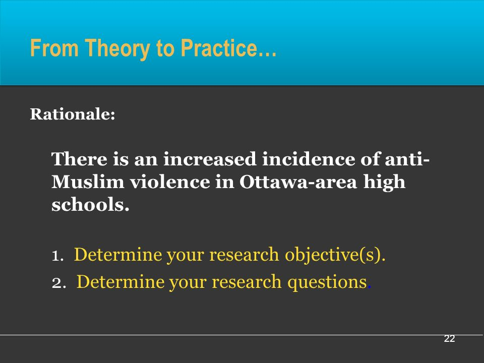 22 From Theory to Practice… Rationale: There is an increased incidence of anti- Muslim violence in Ottawa-area high schools.