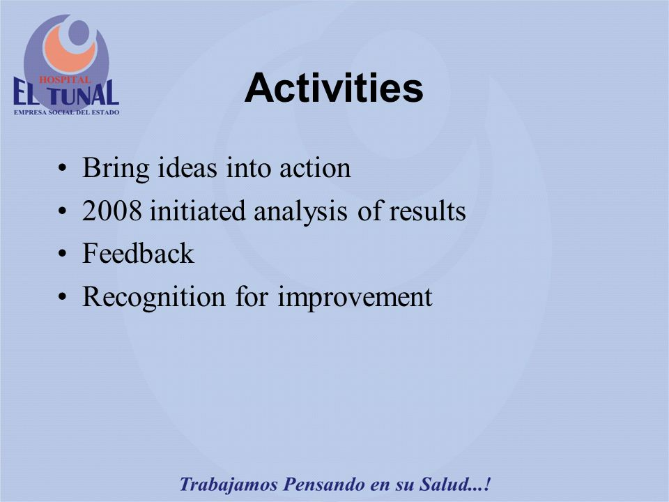 Activities Bring ideas into action 2008 initiated analysis of results Feedback Recognition for improvement