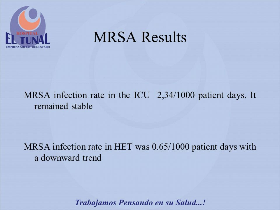 MRSA Results MRSA infection rate in the ICU 2,34/1000 patient days.
