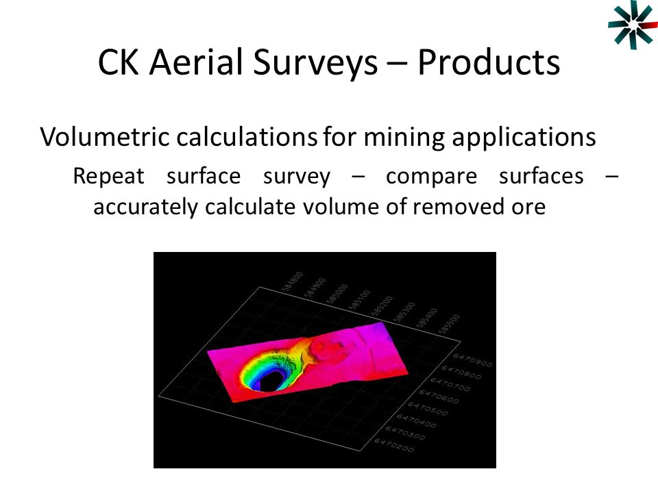 CK Aerial Surveys – Products Volumetric calculations for mining applications Repeat surface survey – compare surfaces – accurately calculate volume of