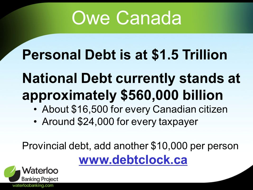 Owe Canada Personal Debt is at $1.5 Trillion National Debt currently stands at approximately $560,000 billion About $16,500 for every Canadian citizen