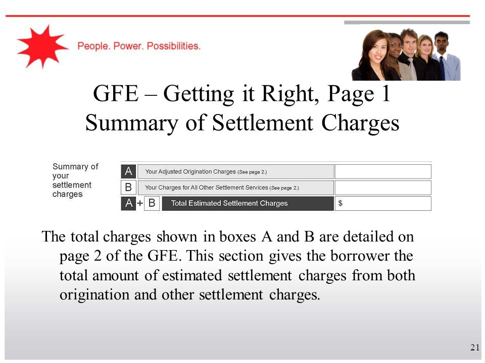 21 GFE – Getting it Right, Page 1 Summary of Settlement Charges The total charges shown in boxes A and B are detailed on page 2 of the GFE. This secti