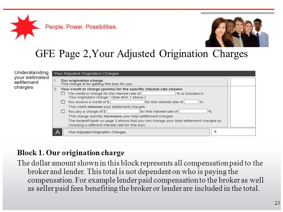 23 GFE Page 2,Your Adjusted Origination Charges Block 1. Our origination charge The dollar amount shown in this block represents all compensation paid