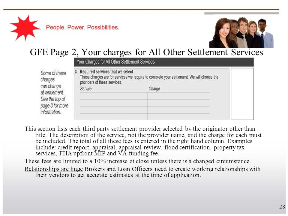 28 GFE Page 2, Your charges for All Other Settlement Services This section lists each third party settlement provider selected by the originator other