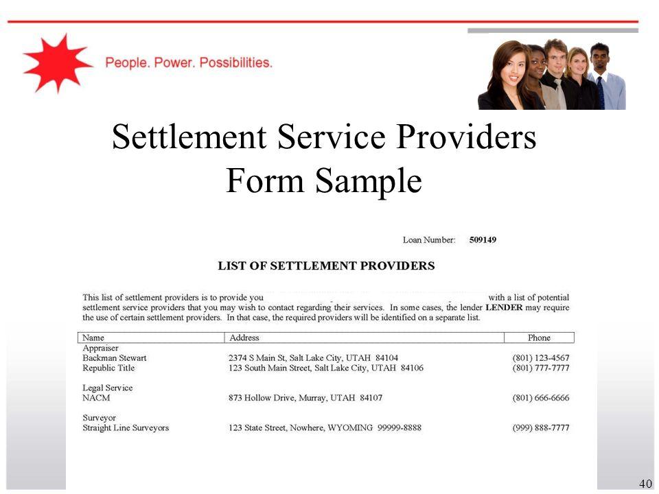 40 Settlement Service Providers Form Sample