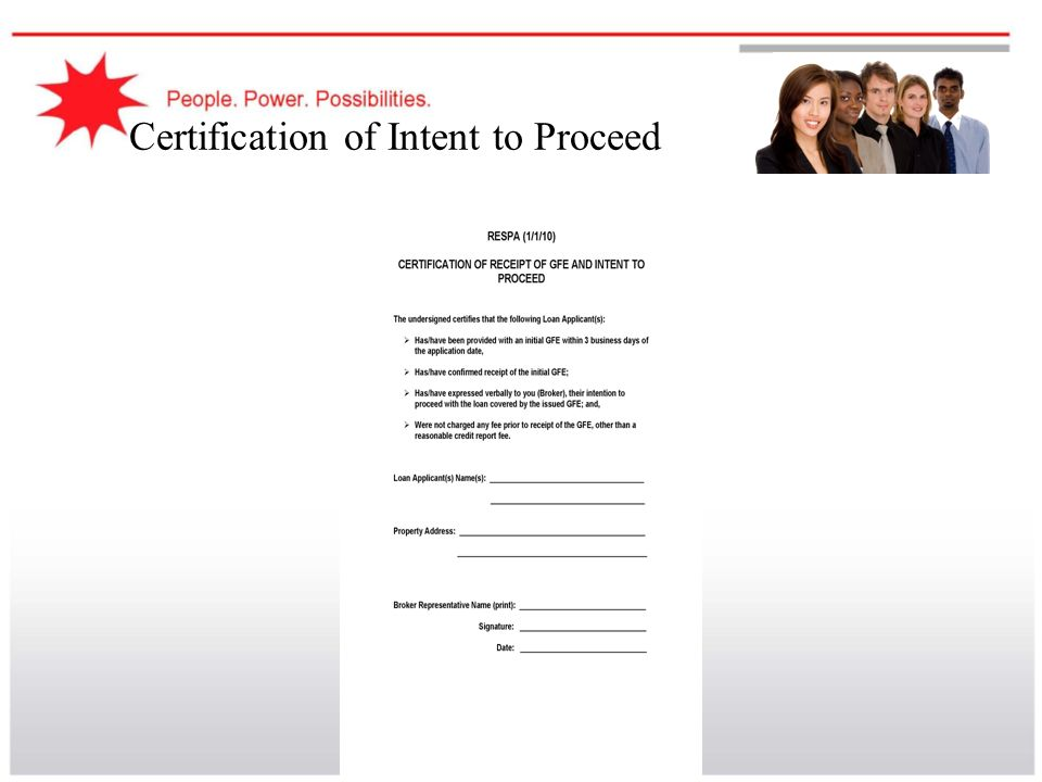 Certification of Intent to Proceed