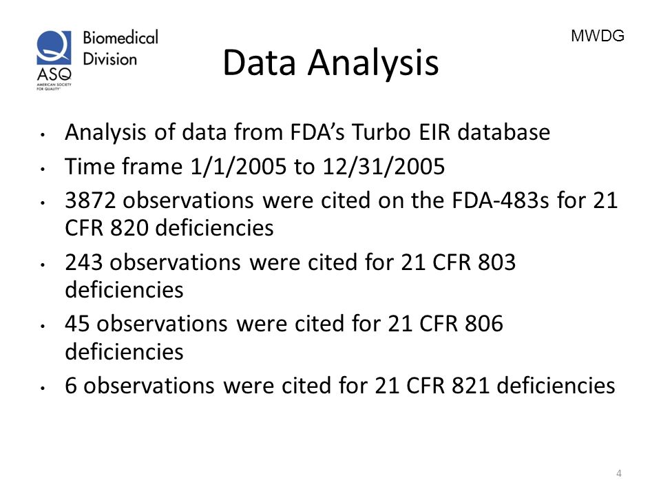 MWDG Data Analysis Analysis of data from FDAs Turbo EIR database Time frame 1/1/2005 to 12/31/2005 3872 observations were cited on the FDA-483s for 21