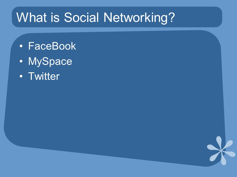 What is Social Networking FaceBook MySpace Twitter