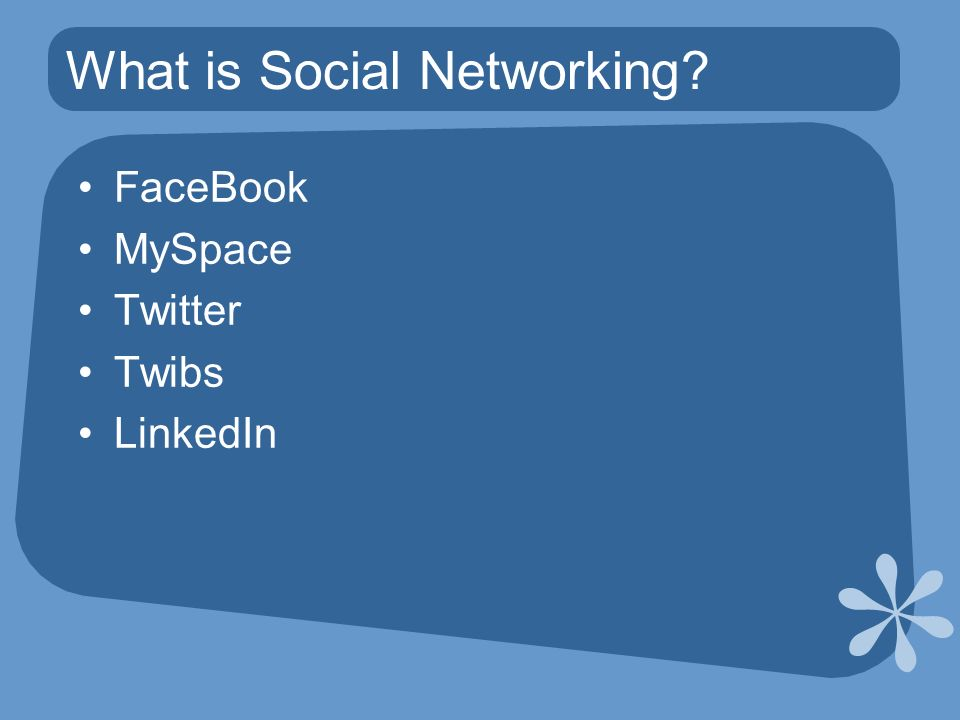 What is Social Networking FaceBook MySpace Twitter Twibs LinkedIn