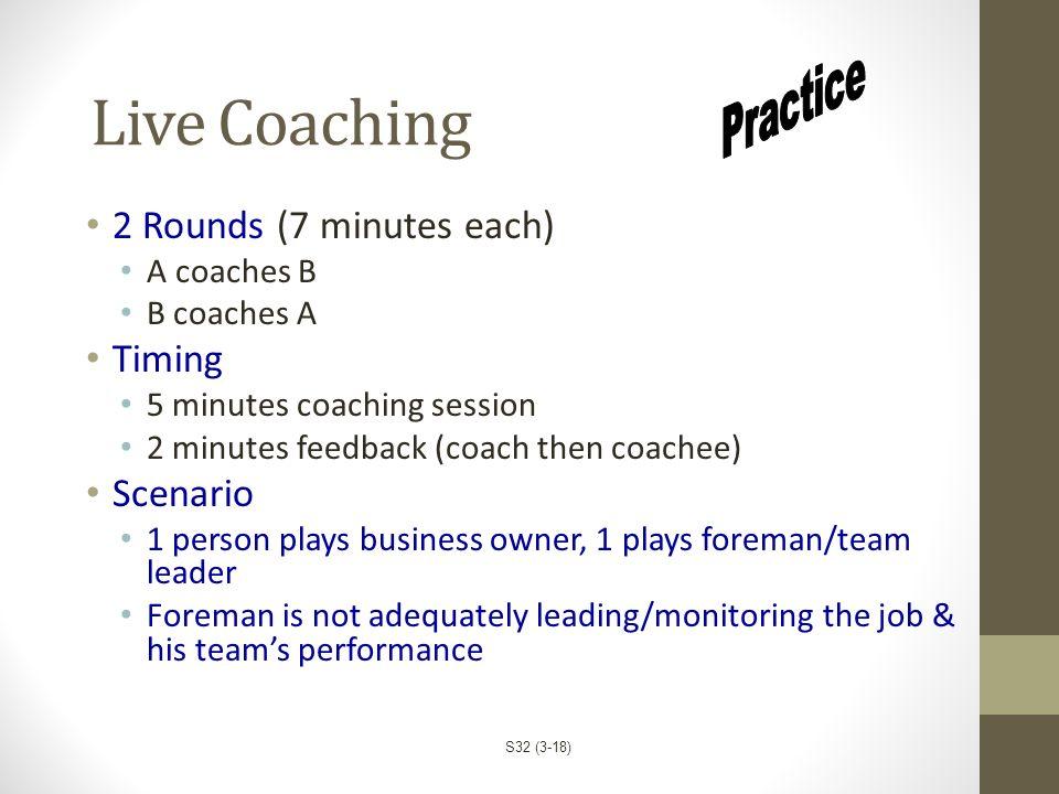 Live Coaching 2 Rounds (7 minutes each) A coaches B B coaches A Timing 5 minutes coaching session 2 minutes feedback (coach then coachee) Scenario 1 p