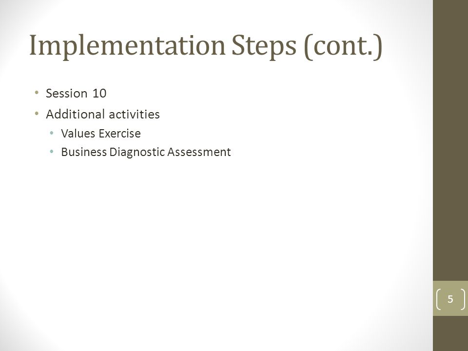 Session 10 Additional activities Values Exercise Business Diagnostic Assessment Implementation Steps (cont.) 5