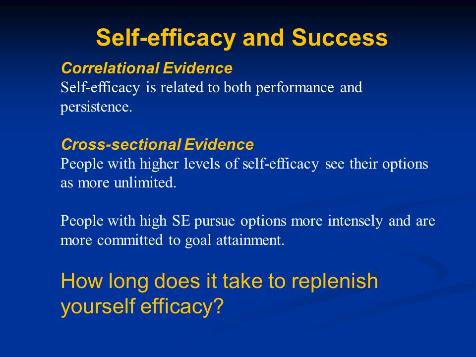 Self-efficacy and Success Correlational Evidence Self-efficacy is related to both performance and persistence.