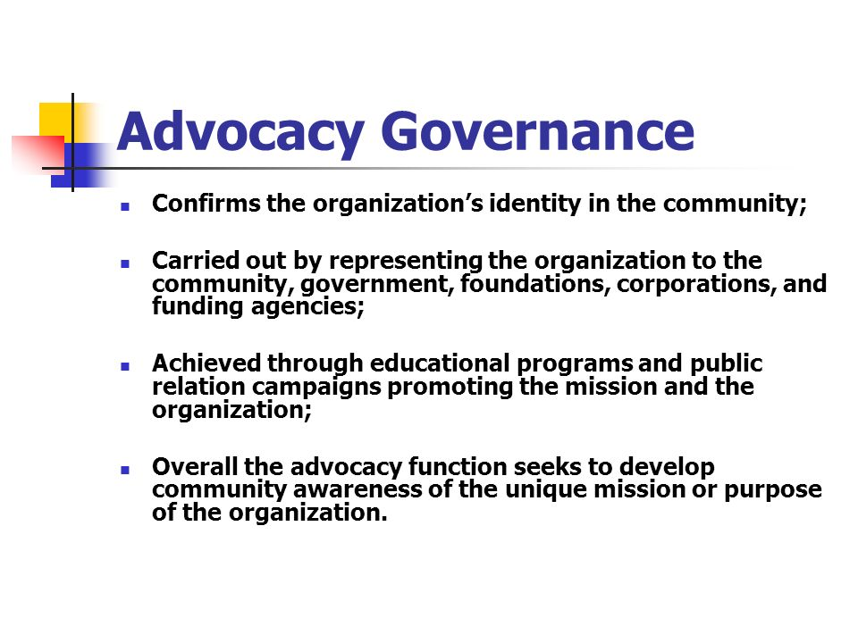 Advocacy Governance Confirms the organizations identity in the community; Carried out by representing the organization to the community, government, f