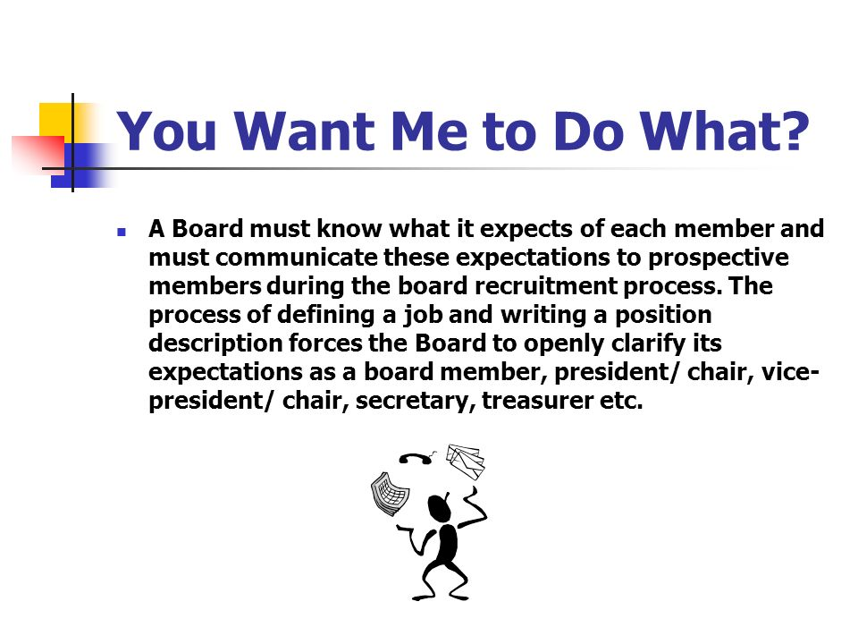 You Want Me to Do What? A Board must know what it expects of each member and must communicate these expectations to prospective members during the boa