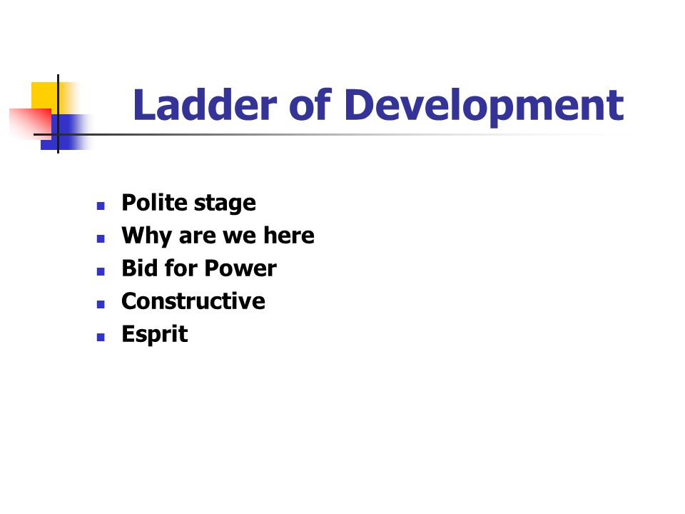 Ladder of Development Polite stage Why are we here Bid for Power Constructive Esprit