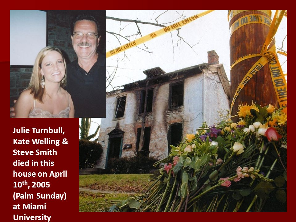 Julie Turnbull, Kate Welling & Steve Smith died in this house on April 10 th, 2005 (Palm Sunday) at Miami University