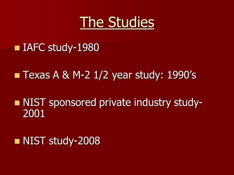 The Studies IAFC study-1980 IAFC study-1980 Texas A & M-2 1/2 year study: 1990s Texas A & M-2 1/2 year study: 1990s NIST sponsored private industry st