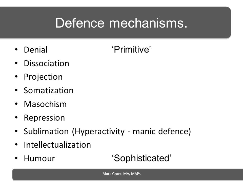Mark Grant. MA, MAPs Defence mechanisms. Denial Primitive Dissociation Projection Somatization Masochism Repression Sublimation (Hyperactivity - manic