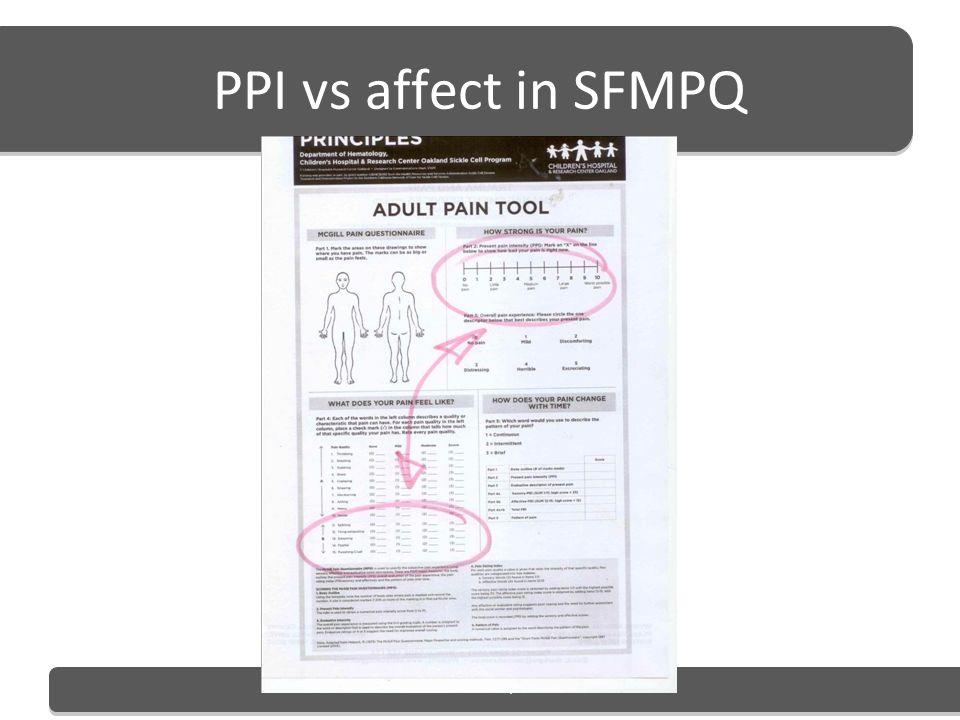 PPI vs affect in SFMPQ Mark Grant. MA, MAPs