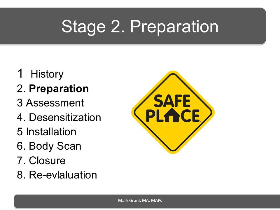Stage 2. Preparation 1 History 2. Preparation 3 Assessment 4. Desensitization 5 Installation 6. Body Scan 7. Closure 8. Re-evlaluation