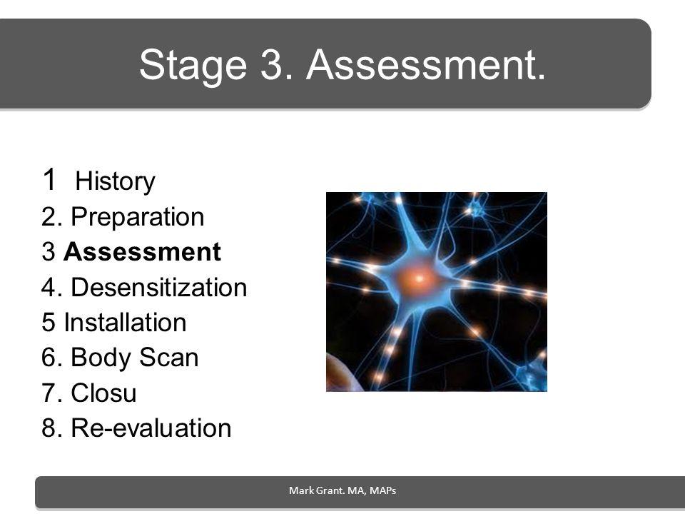 Stage 3. Assessment. 1 History 2. Preparation 3 Assessment 4. Desensitization 5 Installation 6. Body Scan 7. Closu 8. Re-evaluation