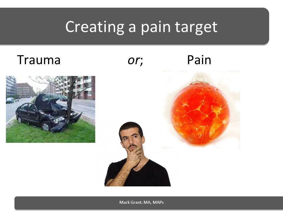 Creating a pain target Trauma or; Pain Mark Grant. MA, MAPs