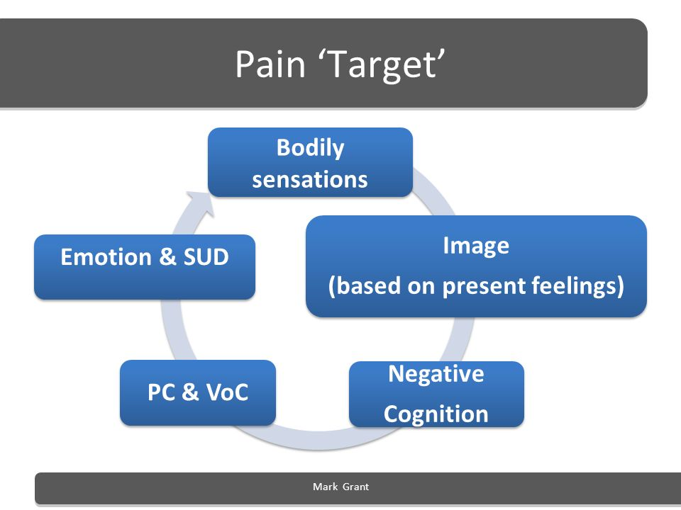 Pain Target Bodily sensations Image (based on present feelings) Negative Cognition PC & VoC Emotion & SUD Mark Grant