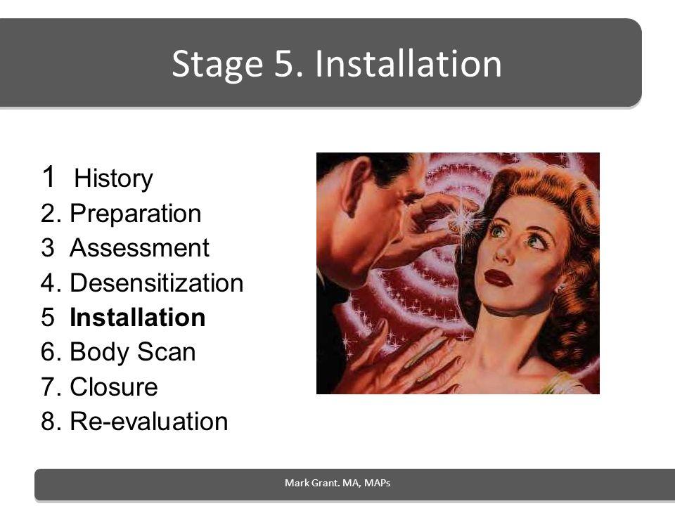 Stage 5. Installation 1 History 2. Preparation 3 Assessment 4. Desensitization 5 Installation 6. Body Scan 7. Closure 8. Re-evaluation