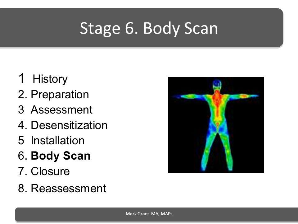 Mark Grant. MA, MAPs Stage 6. Body Scan 1 History 2. Preparation 3 Assessment 4. Desensitization 5 Installation 6. Body Scan 7. Closure 8. Reassessmen