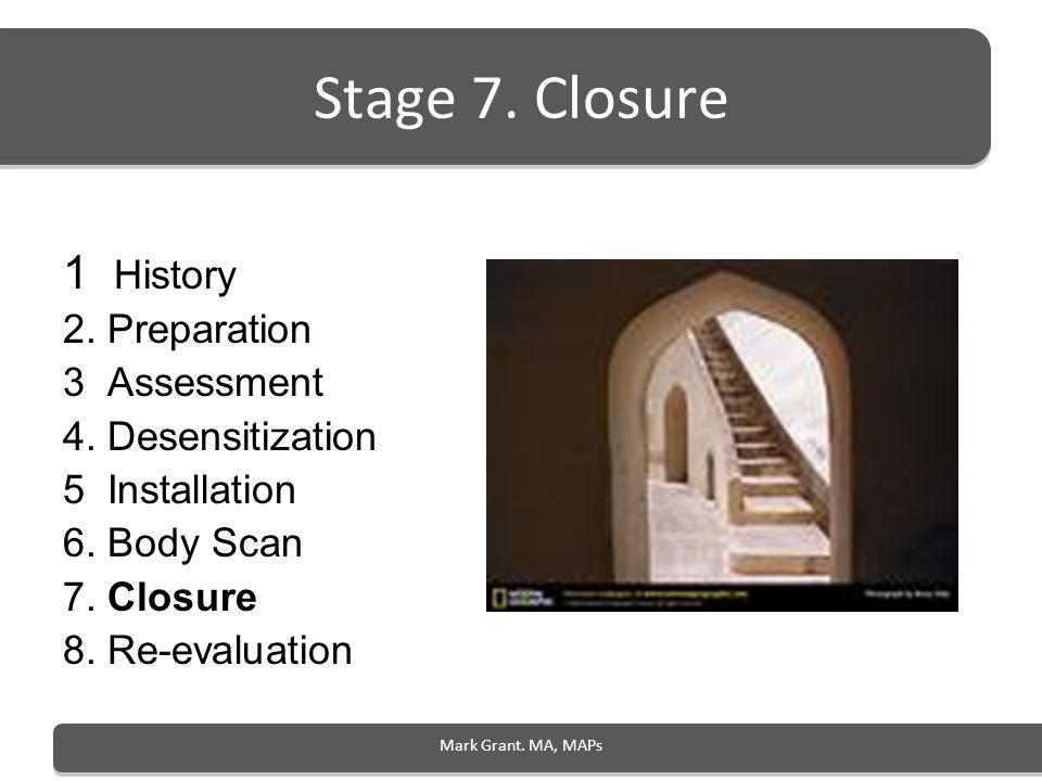 Mark Grant. MA, MAPs Stage 7. Closure 1 History 2. Preparation 3 Assessment 4. Desensitization 5 Installation 6. Body Scan 7. Closure 8. Re-evaluation