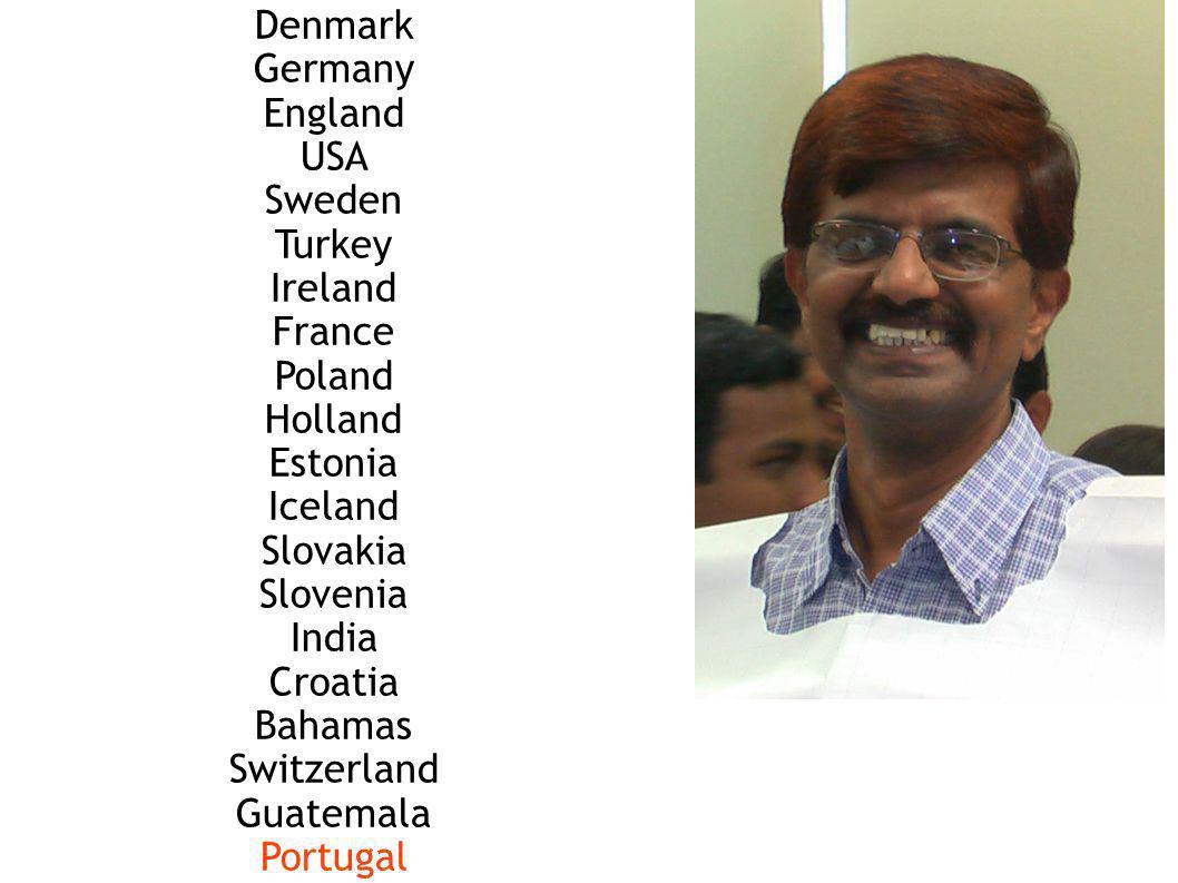 Denmark Germany England USA Sweden Turkey Ireland France Poland Holland Estonia Iceland Slovakia Slovenia India Croatia Bahamas Switzerland Guatemala