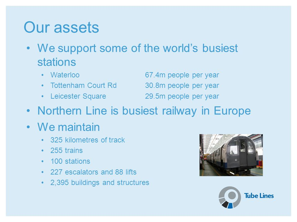 Our assets We support some of the worlds busiest stations Waterloo67.4m people per year Tottenham Court Rd30.8m people per year Leicester Square29.5m