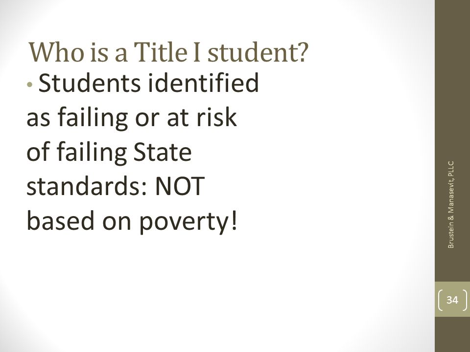 Who is a Title I student.