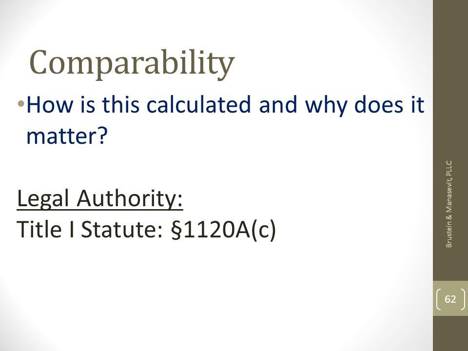 Comparability How is this calculated and why does it matter? Legal Authority: Title I Statute: §1120A(c) Brustein & Manasevit, PLLC 62