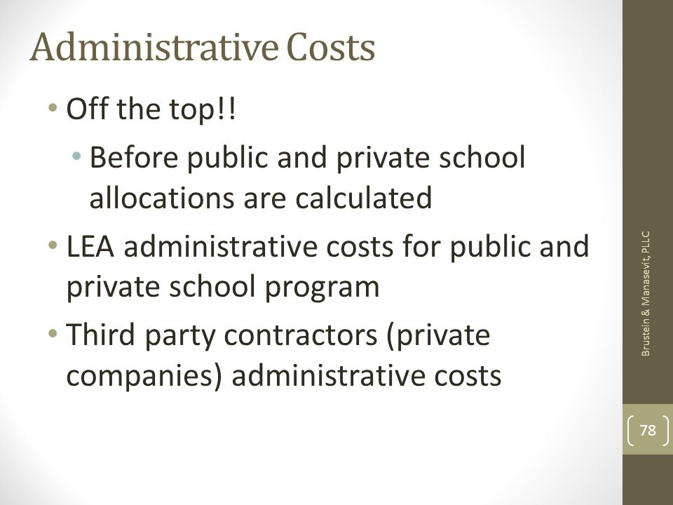 Administrative Costs Off the top!! Before public and private school allocations are calculated LEA administrative costs for public and private school