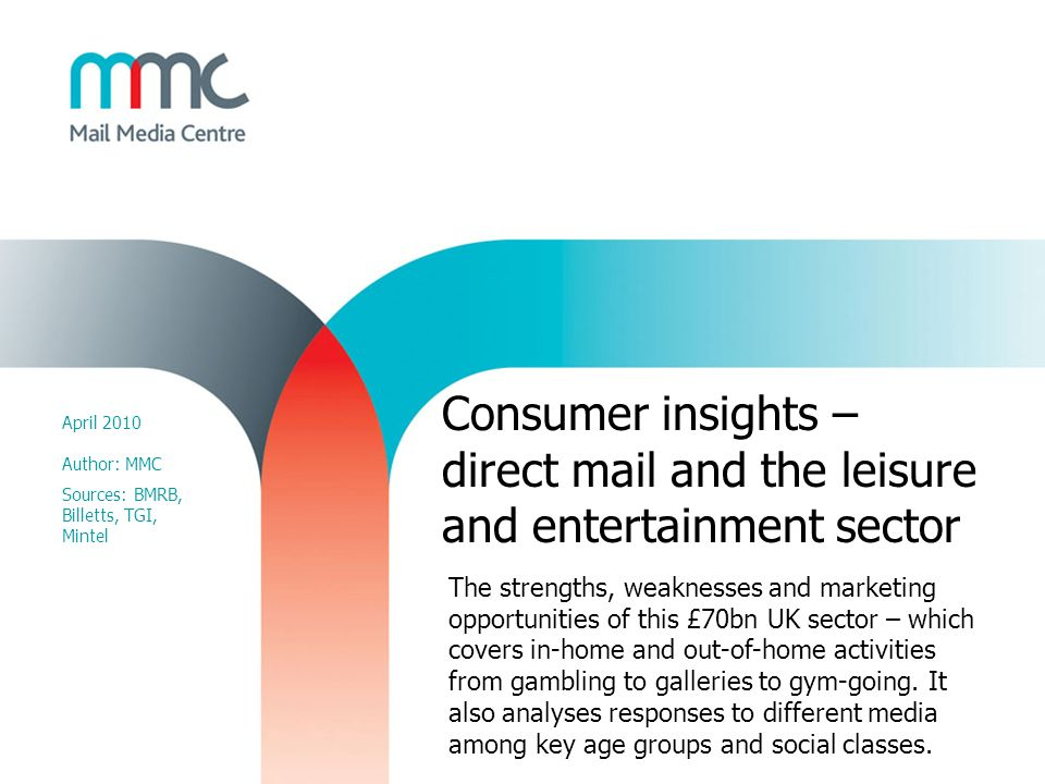 Consumer insights – direct mail and the leisure and entertainment sector April 2010 Author: MMC Sources: BMRB, Billetts, TGI, Mintel The strengths, we