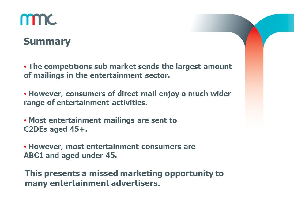 Summary The competitions sub market sends the largest amount of mailings in the entertainment sector. However, consumers of direct mail enjoy a much w