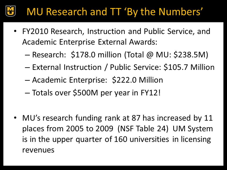 MU Research and TT By the Numbers FY2010 Research, Instruction and Public Service, and Academic Enterprise External Awards: – Research: $178.0 million (Total @ MU: $238.5M) – External Instruction / Public Service: $105.7 Million – Academic Enterprise: $222.0 Million – Totals over $500M per year in FY12.